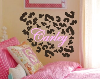 Leopard / Cheetah Animal Print Spots with Customized Name - Choice of Colors - Removable Vinyl Wall Decal / Sticker