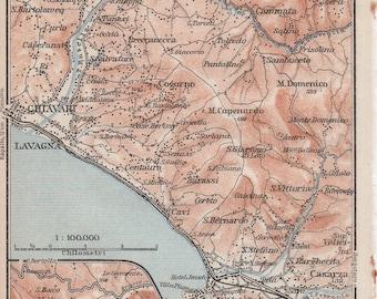 1928 Sestri Levante, Italien, antike Karte, Liguria, Italien, Mittelmeer, Moneglia, Ligurien, Baia del Silenzio, Lavagna, Chiavari