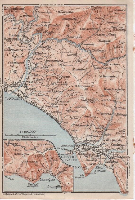 Sestri Levante Italy Map 1928 Sestri Levante Italy