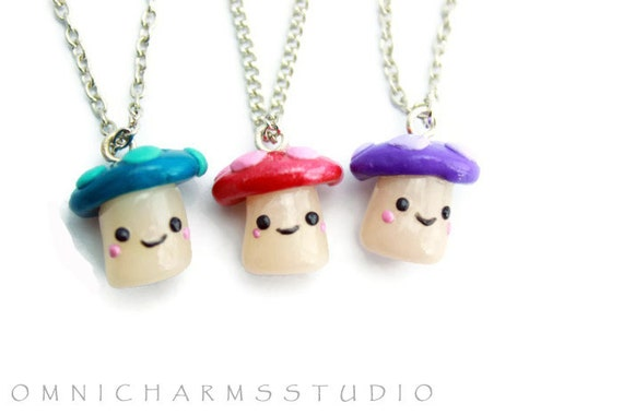 kawaii mushrooms 3 way best friend necklace by