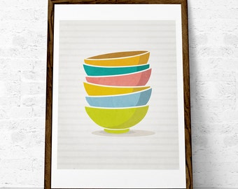 Kitchen print Stacked bowls Mothers day print Kitchen decor Kitchen wall art Kitchen art Stack of bowls Kitchen poster Kitchen decor UK