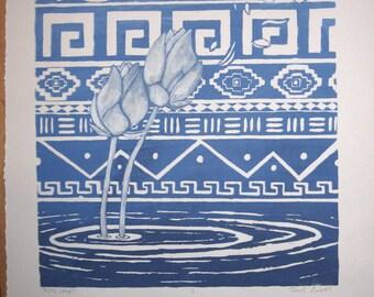 Aztec Lotus - Tribal patterned lotus flower bud screenprint