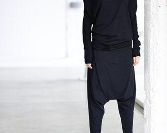 Black Top/ Oversized Long Sleeved Blouse/ Black Bat Top/ Loose Top by Arya Sense/ BATD14BL