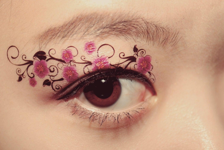 1 pair fake eye temporary tattoo makeup eyeshadow purple for Eye temporary tattoo makeup