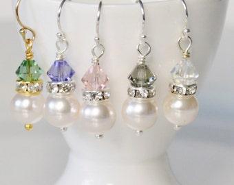 Custom Bridal Earrings, Crystal Bridal Earrings, Simple Bridal Earrings, Bridesmaid Earrings, Drop Earrings, Graduation Earrings,