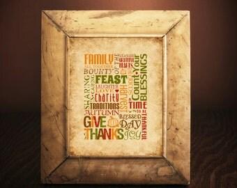 PRINTED | Thanksgiving Print | Home Decor | Home Seasonal Decor | Fall Autumn Decor | Thanksgiving Subway