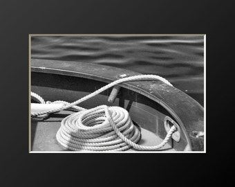 Nautical Line Boat Photography Rope Coiled Line Wooden Oyster Boat Photograph Teak Stern Rail Marine Prints Neutral Decor Boating Canvas Art