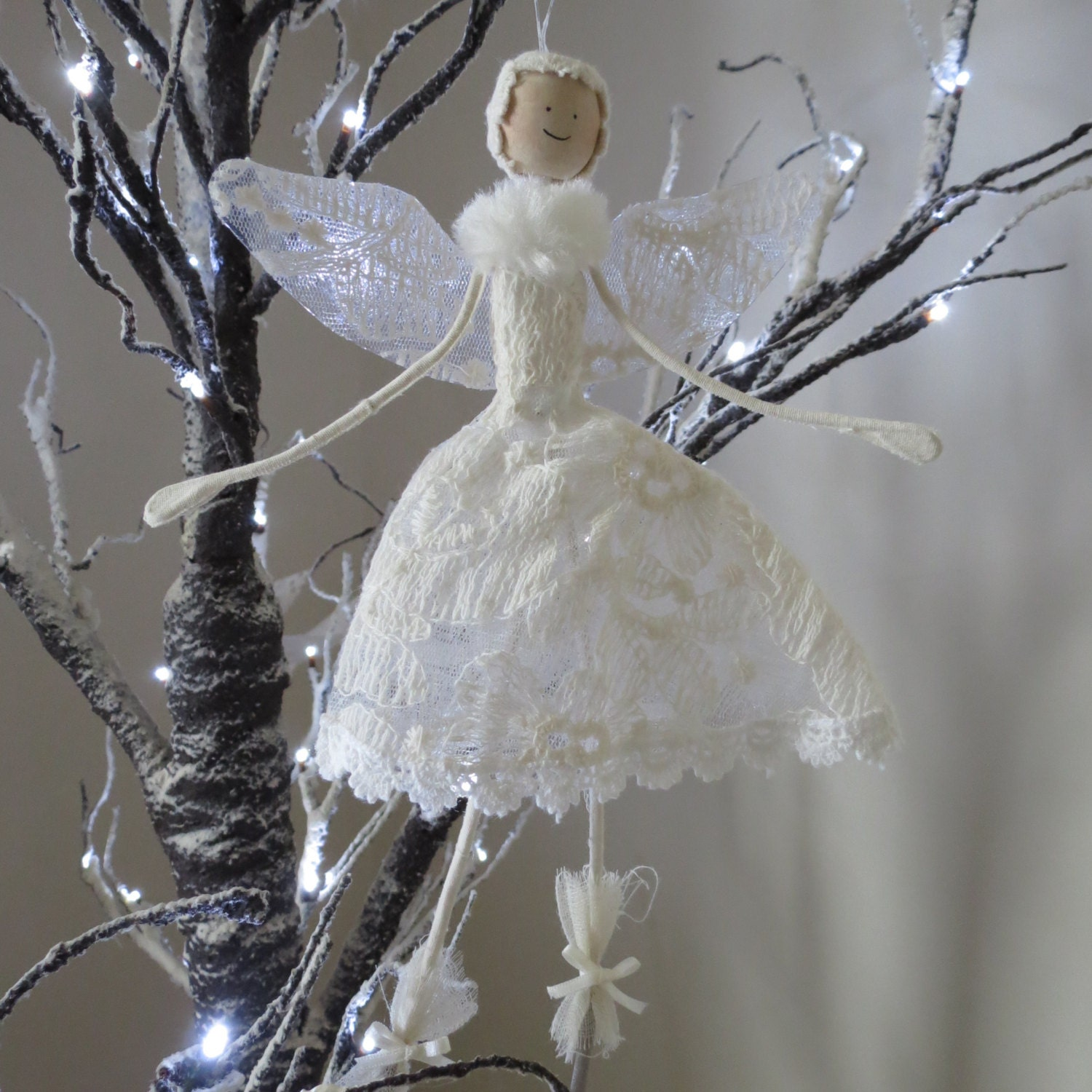 Lace christmas angel fairy decoration for Angel christmas decoration