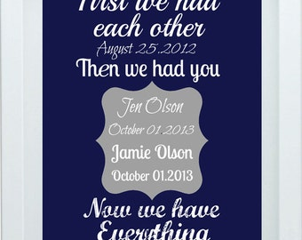 First We Had Each Other Print Nursery Art Navy Blue Quote Personalized Name Custom Print Birth Stats Birthe Announcement 8X10 Print Wall Ar
