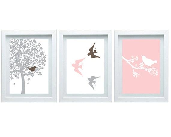 Modern nursery bird trio print nature decor pink brown wall - Modern nursery wall decor ...