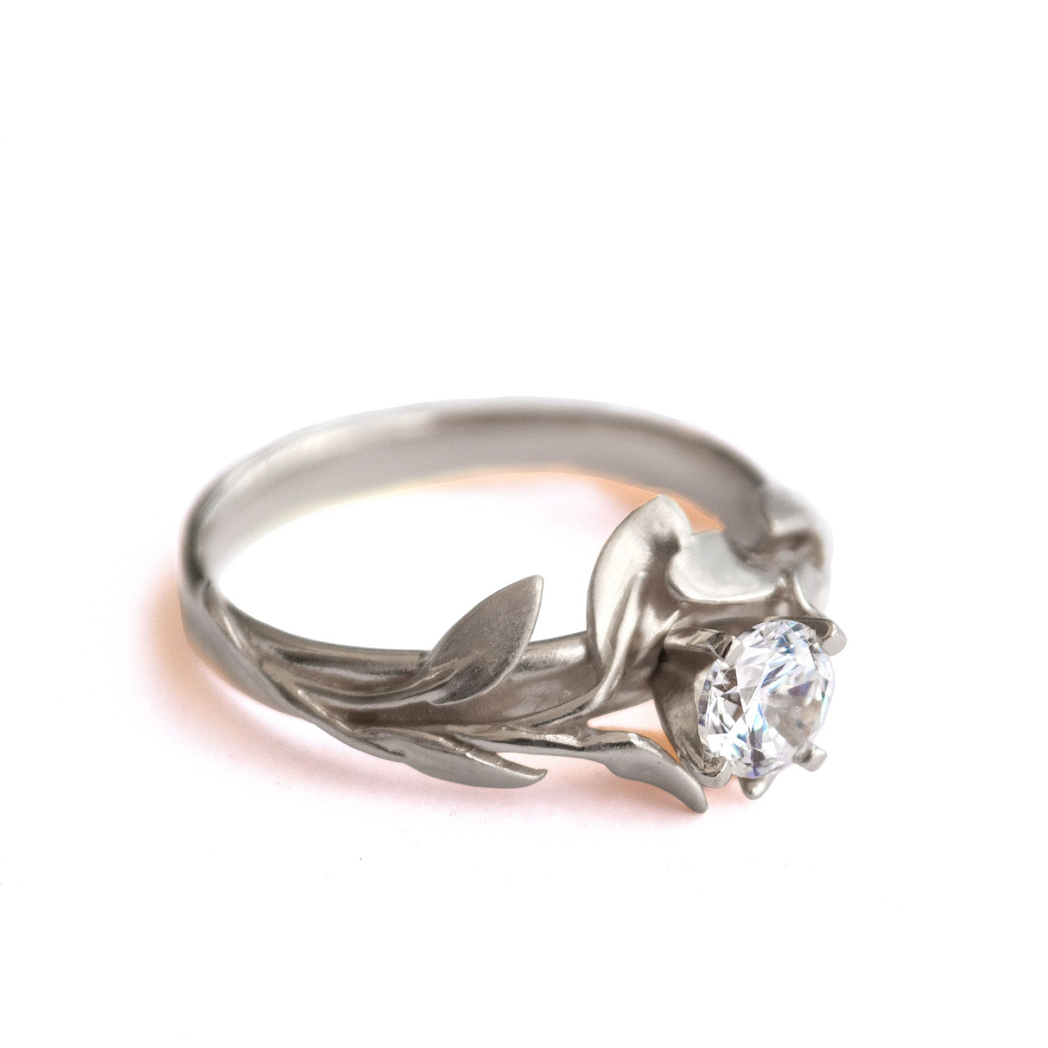 Leaves Engagement Ring No 4 18K White Gold by DoronMeravWeddings