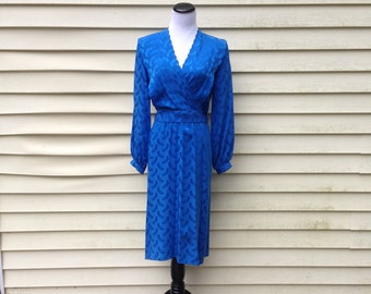 Vintage Argenti Petite Blue 100percent Silk Dress Size 6
