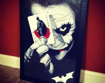 "The Joker Hand Drawn Poster w/ Frame 20""x30"""