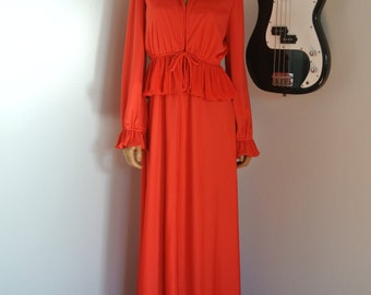 1960s Red Long Maxi Dress Gown with Cardigan Shawl Renaissance Ruffled Origami Pleats Hippie Boho / S/ M