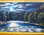Moonlit Vintage Postcard, Moon and Clouds Over Betterton, Maryland, Full Moon Over River, Rich Color, Night Scene Linen PC Postmarked 1950