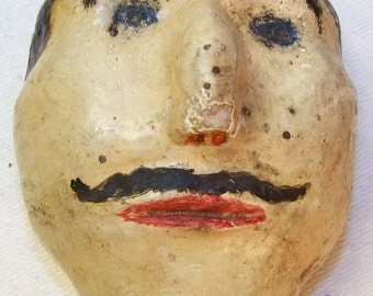 Handmade Man Face with Mustache minature wall hanging Vintage