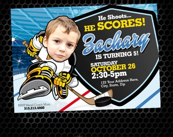 Hockey Invitation - Hockey Party - Hockey Birthday - Tailgate - Sports Birthday - Printable Party - Hockey Ice