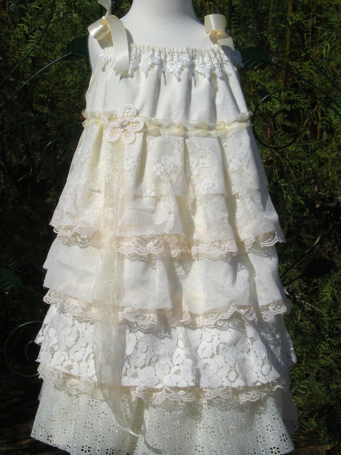 Lace Flower Girl Dress Shabby Chic Frilly Ruffles Dress