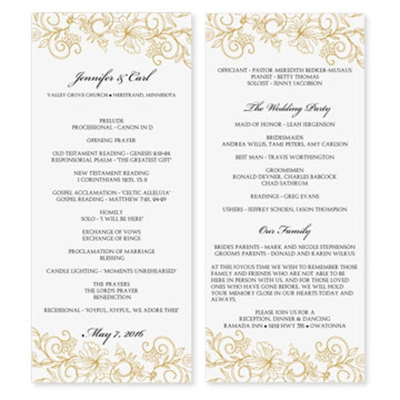Free Printable Wedding Program Templates: Wedding Program Template Download Instantly By KarmaKWeddings