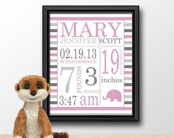 baby announcement subway art, birth print, baby keepsake, new baby decor, baby stats, birth stats, new baby girl gift, birth date print
