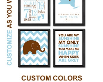 nursery art birth announcement elephant, birth stats wall art baby boy, new baby wall decor, baby name print, modern birth date print boy