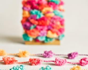 Pom Pom Garland in Confetti - 6 Yards - Pink Turquoise Purple Rainbow Novelty Twine Vintage Ribbon Cord Trim Pompom Pretty Party Decor