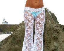 CROCHET LACE boho gypsy festival  burning man resort dance stretch beach bell bottom pants