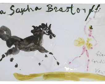 Rare Original Sascha Brastoff Plaque by Marcel VERTES from Artist's Collection