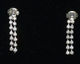 Rhinestone vintage dangle, post earrings