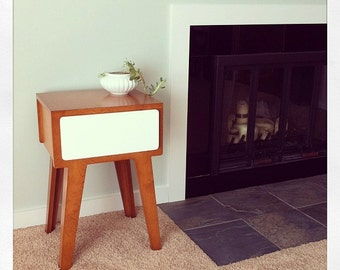 """Custom Size - width 18"""", depth 22"""", height 23"""" - Modern Side Table with Drawer - Mid Century Modern Inspired Side Table"""