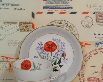 Red Poppy Teacup - English Colclough Bone China