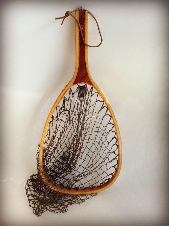 Vintage fishing net wood wooden angler by modernartifactdecor for Wooden fishing net