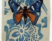original artwork, butterfly drawing completed in watercolor, colored pencil and pen, ooak holiday gift