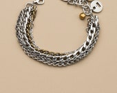 Multi strand chain bracelet, silver and brass statement bracelet, chunky silver bracelet, stainless steel chains,  2 in 1 jewelry