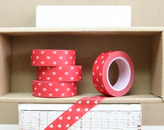 Washi Tape - hearts on red - 1017
