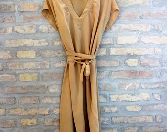 Vintage beige silk dress