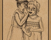 Little Girl's Secret -- Giglee print of an ink drawing by Anita Drieseberg