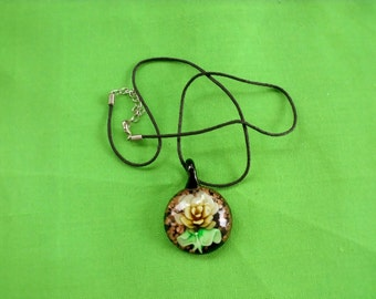 Vintage Rope Necklace with Glass Pendant (Item 721)