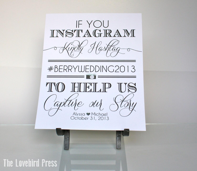 Instagram Wedding Hashtag: Personalized Printable Wedding Instagram Sign Hashtag