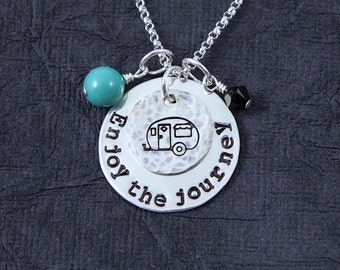 Enjoy the Journey Necklace, Camper Necklace, Camping Necklace, Hand Stamped Silver Necklace