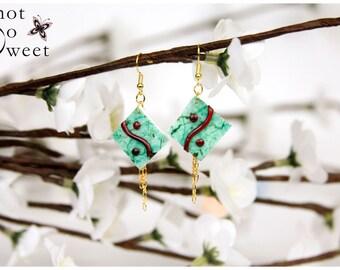 Bordeaux green diamond earrings