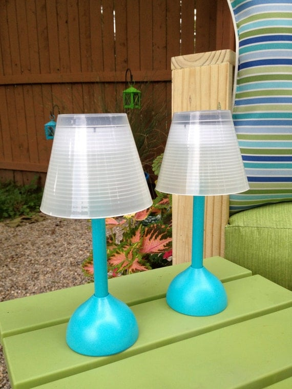 Charming Items Similar To Set Of Two Outdoor Mini Solar Table Lamps. Patio Decor.  Outdoor Lighting. On Etsy