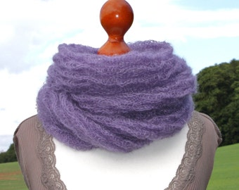 Infinity Scarf Knitting Pattern Mohair : Lilac mohair scarf Etsy