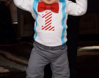 Boys First Birthday Outfit - Dr Seuss Cat in The Hat - Blue Red Birthday - Carnival Birthday - 1st Birthday Boy Outfit - Circus Birthday