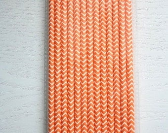 25 Paper Straws - Orange Chevron