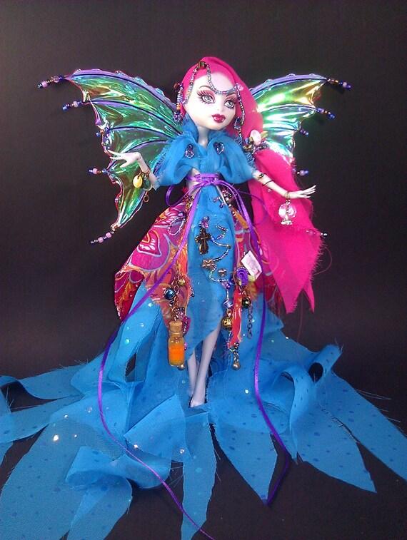 Custom Monster Gypsy Fairy//Monster High Dress w/Wings & Monster Friend