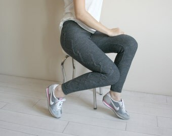 Charcoal  Knitted Stretch Tight  Pants Cable  Leggings Legwarmerb Christmas Gift under50