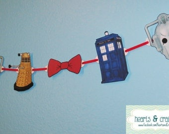 Doctor Who Party Banner TARDIS Dalek Cybermen Eleventh Doctor Bowtie Birthday Decoration - File to PRINT DIY