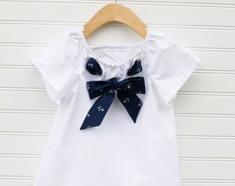 Girls Nautical Sailor Top, Toddler Sailor Top, Sailor Shirt, Baby Nautical, Child Nautical Shirt, Kids Sailor Top, Child Sailor Top