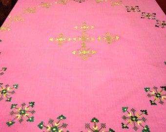 Light Fushia Pink and Green Tablecloth